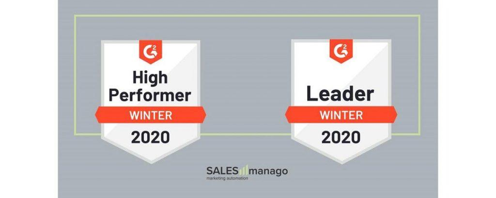 SALESmanago Leader Marketing Automation 2020 e High perfomer G2 crowd report